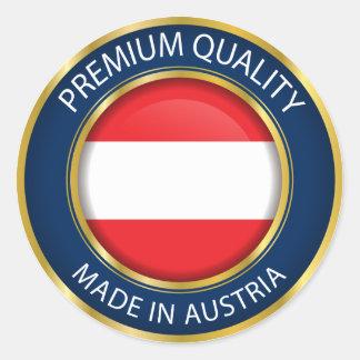 Fait dans le drapeau de l'Autriche, joint Sticker Rond