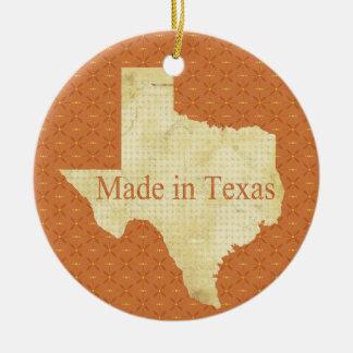 Ornement Rond En Céramique Fait en ornement de photo de Noël du bébé du Texas