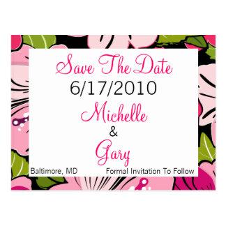 Faites gagner la date - thème rose de fleur carte postale