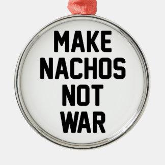 Faites la guerre de Nachos pas Ornement Rond Argenté
