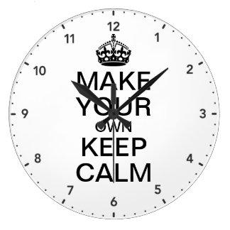 Faites vos propres garder le calme et continuer grande horloge ronde