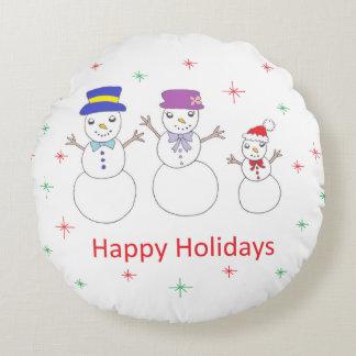 Famille de bonhomme de neige bonnes fêtes coussins ronds