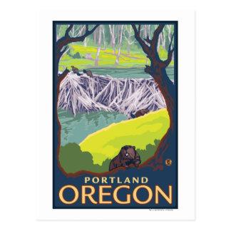 Famille de castor - Portland, Orégon Carte Postale
