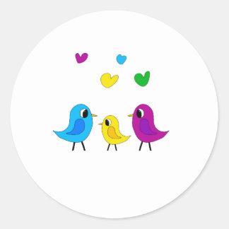 Famille d'oiseaux sticker rond
