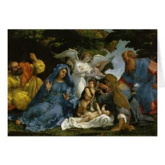Famille sainte avec des saints et des anges carte