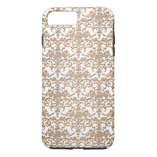 Fancy Gouden en Wit Damast PatternFloral iPhone 8 Plus / 7 Plus Hoesje