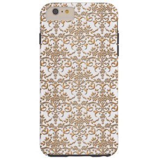 Fancy Gouden en Wit Damast PatternFloral Tough iPhone 6 Plus Hoesje
