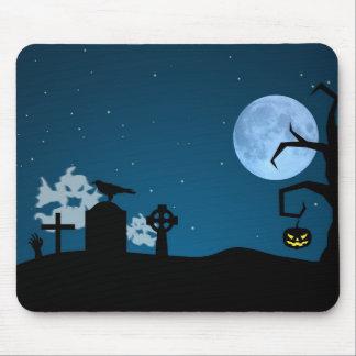 Fantômes de Halloween dans le cimetière - Mousepad Tapis De Souris
