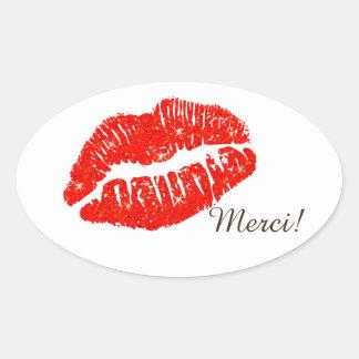 Fard à joues ovale de lèvres d'avec d'Autocollant Sticker Ovale