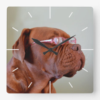 Fashion Dogue de Bordeaux Horloge Carrée