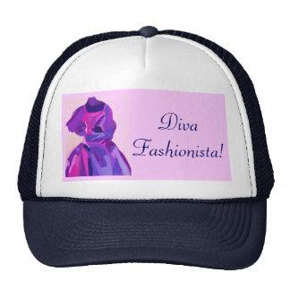 Fashionista de diva dans le bleu casquettes