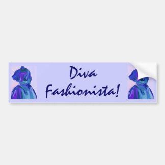 Fashionista de diva dans le bleu I Adhésif Pour Voiture