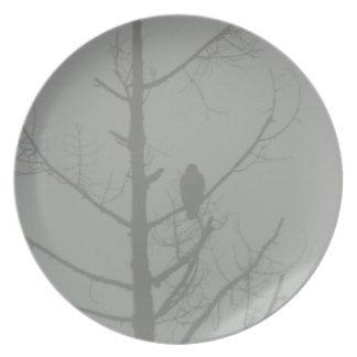 Faucon dans la brume assiettes en mélamine