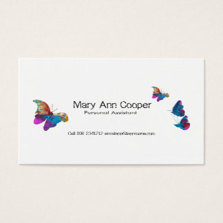 Faune animale de papillons d'aquarelle colorée carte de visite standard