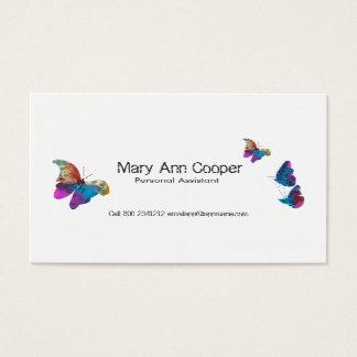 Faune animale de papillons d'aquarelle colorée cartes de visite