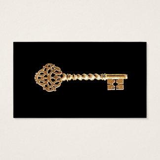 Fausse clé d'or antique de Steampunk d'or Cartes De Visite