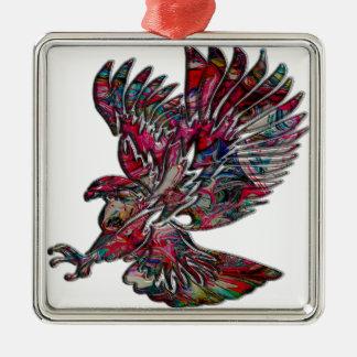 Faux abstrait Eagle tribal métallique Ornement Carré Argenté