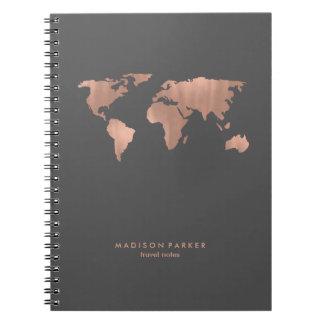 Faux nam de Gouden Kaart van de Wereld op Rokerige Ringband Notitieboek