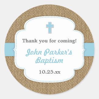 Faveur bleue de baptême de baptême de garçon de sticker rond