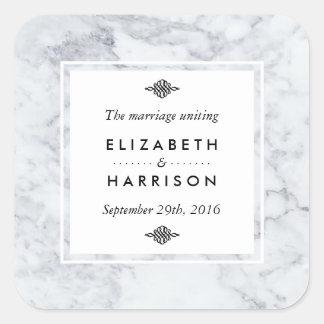 Faveur de marbre vintage élégante de mariage sticker carré