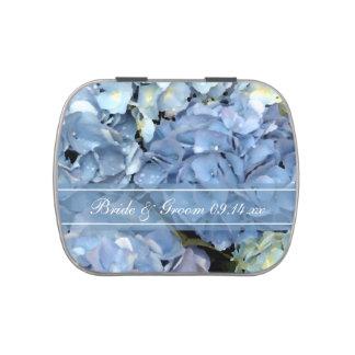 Faveur florale de mariage d'hortensia bleu boite de bonbons jelly belly