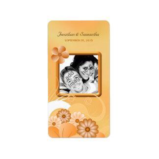 Faveur florale ene ivoire de photo de mariage d'or étiquettes d'adresse