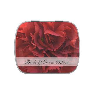 Faveur florale rouge de mariage boite de bonbons jelly belly