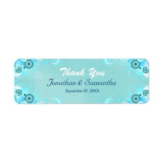 Faveur florale turquoise bleue de mariage d'Aqua Étiquettes D'adresse Retour