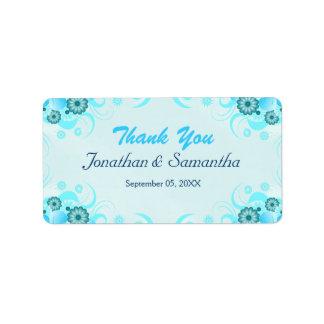 Faveur moyenne florale turquoise bleue de mariage étiquette d'adresse