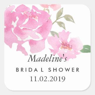 Faveur nuptiale de douche de pivoines roses sticker carré