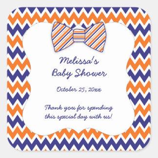 Faveur orange de baby shower de garçon de cravate sticker carré