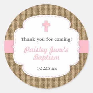 Faveur rose de baptême de baptême de fille de sticker rond