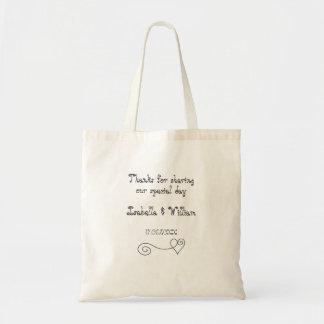 Faveur simple de mariage de calligraphie sac en toile budget