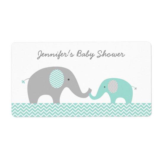 Faveur verte de baby shower d'éléphant de Chevron Étiquette D'expédition