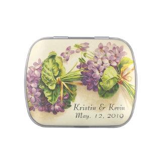 Faveurs violettes vintages de réception de mariage boites de bonbons jelly belly