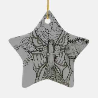 Fée de nuit et ours fâché ornement étoile en céramique