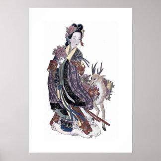 Fée MOIS-ku-hsien de Taoist avec le poster vintage