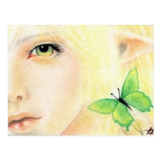 Fée verte de papillon carte postale