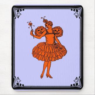 Fée vintage de citrouille de Halloween Tapis De Souris