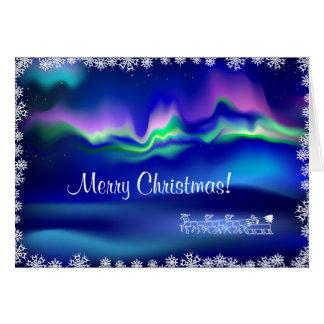 Félicitation de Noël de lumières du nord Carte De Vœux