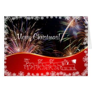 Félicitation rouge de feux d'artifice de Joyeux Carte De Vœux