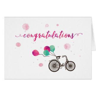 Félicitations avec la carte de voeux des ballons  