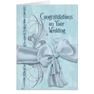 Félicitations bleues de mariage carte de vœux