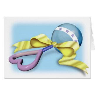 Félicitations bleues et pourpres de hochet de bébé carte de vœux