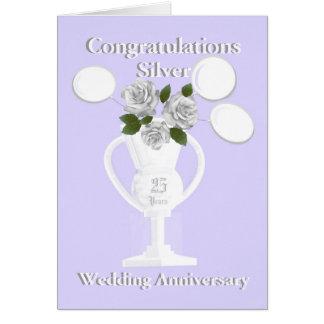 Félicitations d'anniversaire de noces d'argent 25 carte de vœux