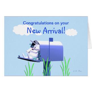 Félicitations de bébé - lapin dans la boîte aux carte de vœux