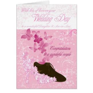 Félicitations de jour du mariage de fille et de carte de vœux