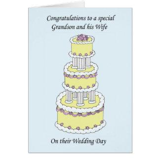 Félicitations de jour du mariage de petit-fils et carte de vœux