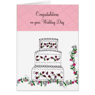 Félicitations de mariage de gâteau de mariage carte de vœux