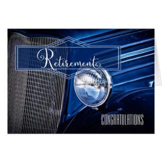 Félicitations de retraite - voiture vintage bleue carte de vœux